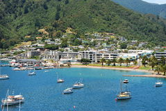View of Picton and bay from a hill top. Marlborough. New Zealand stock photo