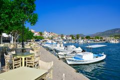 View of the picturesque coastal town of Ermioni, Peloponnese, Greece stock images