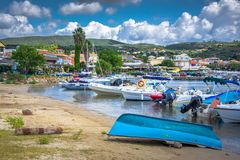 View of the picturesque coastal town of Finikouda, Peloponnese. stock photography