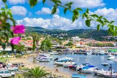 View of the picturesque coastal town of Finikouda, Peloponnese. stock image