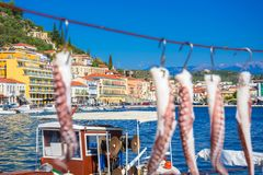 View of the picturesque coastal town of Gythio, Peloponnese. View of the picturesque coastal town of Gythio, Peloponnese, Greece royalty free stock image