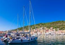 View of the picturesque coastal town of Gythio, Peloponnese. royalty free stock photos