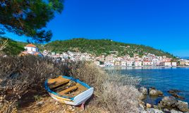 View of the picturesque coastal town of Gythio, Peloponnese. View of the picturesque coastal town of Gythio, Peloponnese, Greece stock image