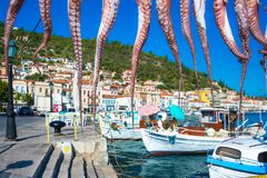View of the picturesque coastal town of Gythio, Peloponnese. View of the picturesque coastal town of Gythio, Peloponnese, Greece stock photo