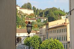View from the hill at Fiesole, Italy. View of the picturesque hills of Fiesole, Italy stock images