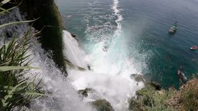 View of the Picturesque Lower Duden Waterfall Falling into the Sea in Antalya, Turkey. Top View. 4k UHD stock video
