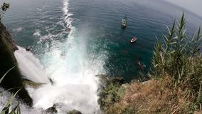 View of the Picturesque Lower Duden Waterfall Falling into the Sea in Antalya, Turkey. Top View. 4k UHD stock footage