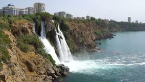 View of the Picturesque Lower Duden Waterfall Falling into the Sea in Antalya, Turkey. 4k UHD stock video