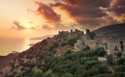View of the picturesque medieval village of Vatheia with towers, Lakonia, Peloponnese, Greece.  stock photos