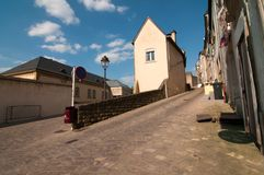 View of a narrow street in the city of Luxembourg Royalty Free Stock Image