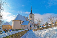 View of the picturesque old church near Gruyere castle Royalty Free Stock Image