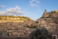View of the picturesque Sicilian town of Modica. At sunrise Stock Photo