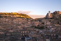 View of the picturesque Sicilian town of Modica. At sunrise Stock Photography