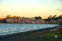 view of the picturesque town of Anguillara Sabazia royalty free stock photography