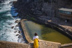 View of the Picturesque village Azenhas do Mar. On the edge of a cliff with a beach below. Landmark near Sintra, Lisbon, Portugal stock images