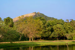 View of the Pidurangala Rock near Sigiriya Rock in Sri Lanka Royalty Free Stock Photo