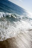 View from pier. Waves crashing at Balboa beach Stock Photography