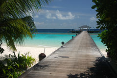 A view on a pier. Baa Atoll Maldives Royalty Free Stock Image