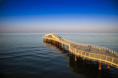 View on the pier of Camaiore. View on the Lido di Camaiore jetty Versilia Tuscany Italy royalty free stock images