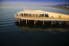 View on the pier of Camaiore. View on the Lido di Camaiore jetty Versilia Tuscany Italy stock photography