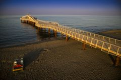 View on the pier of Camaiore. View on the Lido di Camaiore jetty Versilia Tuscany Italy royalty free stock image