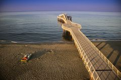 View on the pier of Camaiore. View on the Lido di Camaiore jetty Versilia Tuscany Italy stock image