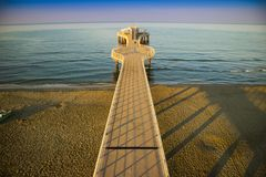 View on the pier of Camaiore. View on the Lido di Camaiore jetty Versilia Tuscany Italy royalty free stock photo