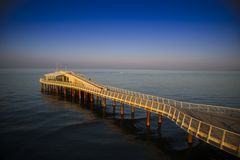 View on the pier of Camaiore. View on the Lido di Camaiore jetty Versilia Tuscany Italy royalty free stock photography