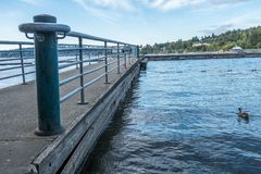 Gene Coulon Park Pier. A view of a pier at Gene Coulon Park in Renton, Washington Stock Image