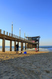 View of the Pier on Golden Mile Beach With People, Durban, South Africa Stock Photos