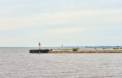 View of the pier and the Gulf of Finland in Strelna. Royalty Free Stock Photos