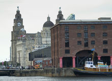 A View of Pier Head from Albert Dock, Liverpool Stock Photo