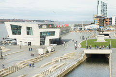 View of the Pier Head and the Beatles Store, Liverpool, UK stock photography