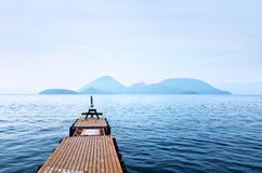 View of pier on the lake Royalty Free Stock Photo
