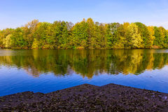 View from Pier on Lake and Multicolored Trees in the Public Park Royalty Free Stock Image