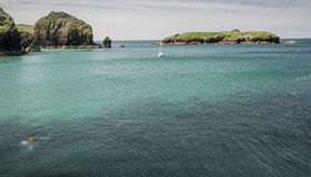 View from pier at Mullion Cove in Cornwall in England Stock Photo