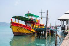 View of pier near Bang Bao fishing village, which consists of houses on stilts built into the sea. Royalty Free Stock Photography