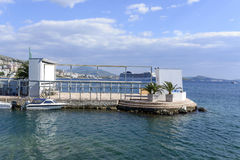 View of the pier at the port in Saranda stock photos