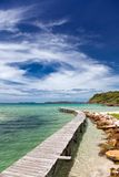 View from the pier on the sea at loneliness beach stock image