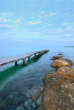 View from the pier on the sea at loneliness beach on Thai island Koh Kood Royalty Free Stock Photography