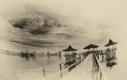 View of pier at sea shore royalty free stock images