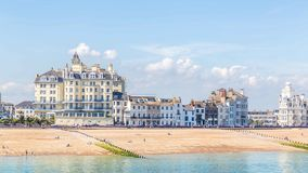 View from the pier on the skyline of Eastbourne, Sussex, United. Kingdom stock photo