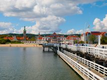 View from the pier at Sopot. With summer clouds, Poland Royalty Free Stock Photos