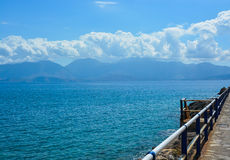 View from the pier to the Aegean Sea. Royalty Free Stock Photography