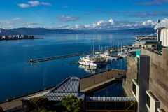 View of the Pier, Wellington, New Zealand. View of the pier from the top of the Te Papa Museum Wellington, New Zealand, Aotearoa Stock Photography