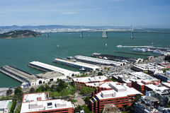 View of piers in San Francisco bay and Oakland bri Stock Image