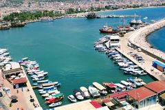 View of the piers with yachts, motor boats and fishing boats Alanya, Turkey.  Royalty Free Stock Photography