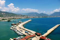 View of the piers with yachts, motor boats and fishing boats Alanya, Turkey.  Royalty Free Stock Images