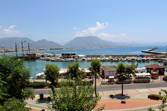 View of the piers with yachts, motor boats and fishing boats Alanya, Turkey Stock Photography