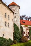 View of Pieskowa Skala Castle and garden, medieval building near Krakow, Poland Royalty Free Stock Image